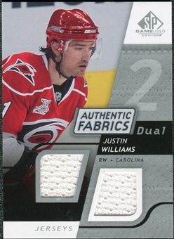 2008/09 Upper Deck SP Game Used Dual Authentic Fabrics #AFJW Justin Williams