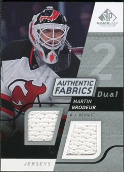 2008/09 Upper Deck SP Game Used Dual Authentic Fabrics #AFMB Martin Brodeur
