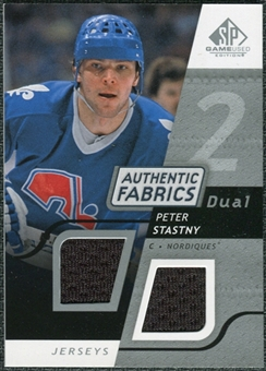 2008/09 Upper Deck SP Game Used Dual Authentic Fabrics #AFSY Peter Stastny