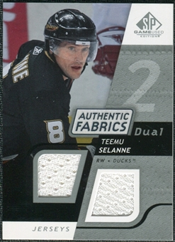 2008/09 Upper Deck SP Game Used Dual Authentic Fabrics #AFTS Teemu Selanne