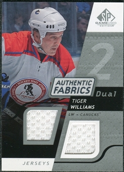 2008/09 Upper Deck SP Game Used Dual Authentic Fabrics #AFTW Tiger Williams