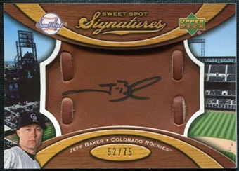 2007 Upper Deck Sweet Spot Signatures Glove Leather Black Ink #JB Jeff Baker Autograph /75