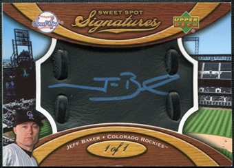 2007 Upper Deck Sweet Spot Signatures Black Glove Leather Metallic Blue Ink #JB Jeff Baker 1/1