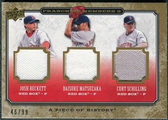 2008 Upper Deck A Piece of History Franchise Members Triple Jersey #2 Beckett Matsuzaka Schilling /99