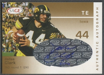 2003 SAGE #A10 Dallas Clark Rookie Gold Auto #051/140