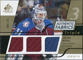 2008/09 Upper Deck SP Game Used Triple Authentic Fabrics Gold #3AFBU Peter Budaj /25