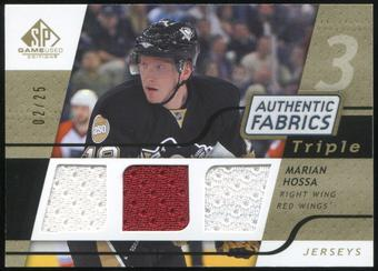 2008/09 Upper Deck SP Game Used Triple Authentic Fabrics Gold #3AFHO Marian Hossa 2/25
