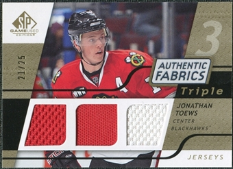 2008/09 Upper Deck SP Game Used Triple Authentic Fabrics Gold #3AFJT Jonathan Toews /25