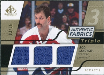 2008/09 Upper Deck SP Game Used Triple Authentic Fabrics Gold #3AFLA Rod Langway /25