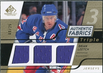 2008/09 Upper Deck SP Game Used Triple Authentic Fabrics Gold #3AFLT Brian Leetch /25