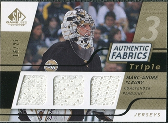 2008/09 Upper Deck SP Game Used Triple Authentic Fabrics Gold #3AFMF Marc-Andre Fleury /25