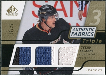 2008/09 Upper Deck SP Game Used Triple Authentic Fabrics Gold #3AFTS Teemu Selanne /25