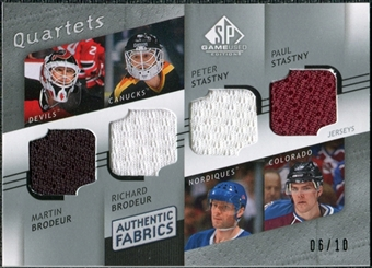 2008/09 Upper Deck SP Game Used Authentic Fabrics Quads #BBSS Martin Richard Brodeur Peter Paul Stastny /10