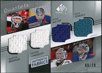 2008/09 Upper Deck SP Game Used Authentic Fabrics Quads #BLMT Brodeur Lundqvist Miller Toskala /10