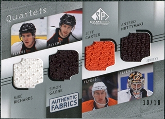 2008/09 Upper Deck SP Game Used Authentic Fabrics Quads #RGCN Richards Gagne Carter Niittymaki /10
