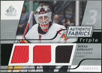 2008/09 Upper Deck SP Game Used Triple Authentic Fabrics #3AFMK Miikka Kiprusoff