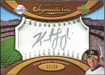 2007 Upper Deck Sweet Spot Signatures Silver Stitch Silver Ink #KS Kurt Suzuki Autograph /99