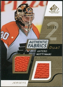 2008/09 Upper Deck SP Game Used Dual Authentic Fabrics Gold #AFAN Antero Niittymaki /50