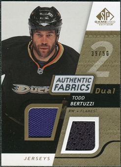 2008/09 Upper Deck SP Game Used Dual Authentic Fabrics Gold #AFBZ Todd Bertuzzi /50