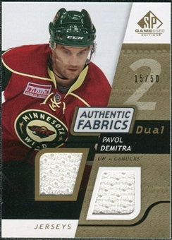 2008/09 Upper Deck SP Game Used Dual Authentic Fabrics Gold #AFDE Pavol Demitra /50