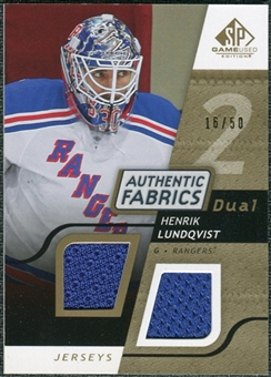2008/09 Upper Deck SP Game Used Dual Authentic Fabrics Gold #AFHL Henrik Lundqvist /50