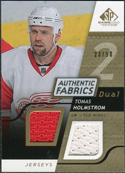 2008/09 Upper Deck SP Game Used Dual Authentic Fabrics Gold #AFHO Tomas Holmstrom /50