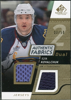 2008/09 Upper Deck SP Game Used Dual Authentic Fabrics Gold #AFIK Ilya Kovalchuk /50