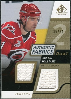 2008/09 Upper Deck SP Game Used Dual Authentic Fabrics Gold #AFJW Justin Williams /50