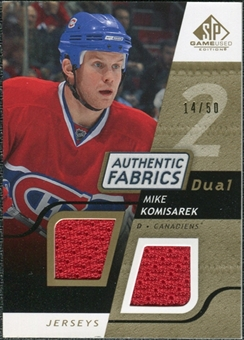 2008/09 Upper Deck SP Game Used Dual Authentic Fabrics Gold #AFKM Mike Komisarek /50
