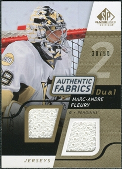 2008/09 Upper Deck SP Game Used Dual Authentic Fabrics Gold #AFMF Marc-Andre Fleury /50