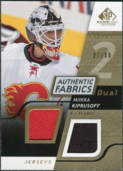2008/09 Upper Deck SP Game Used Dual Authentic Fabrics Gold #AFMK Miikka Kiprusoff /50