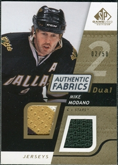 2008/09 Upper Deck SP Game Used Dual Authentic Fabrics Gold #AFMM Mike Modano /50