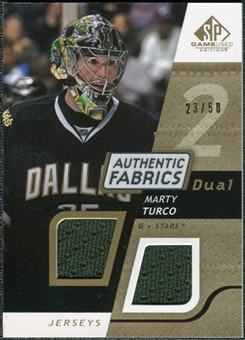 2008/09 Upper Deck SP Game Used Dual Authentic Fabrics Gold #AFMT Marty Turco /50
