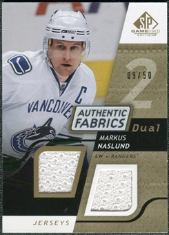 2008/09 Upper Deck SP Game Used Dual Authentic Fabrics Gold #AFNS Markus Naslund /50