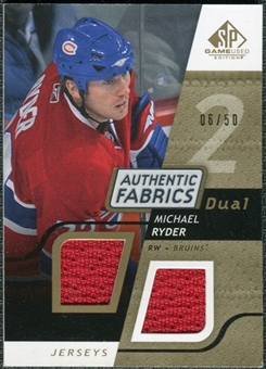 2008/09 Upper Deck SP Game Used Dual Authentic Fabrics Gold #AFRY Michael Ryder /50