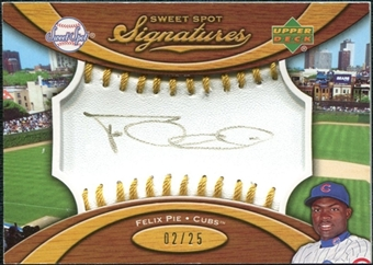 2007 Upper Deck Sweet Spot Signatures Gold Stitch Gold Ink #FP Felix Pie /25