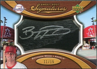 2007 Upper Deck Sweet Spot Signatures Black Bat Barrel Silver Ink #BW Brandon Wood Autograph /15