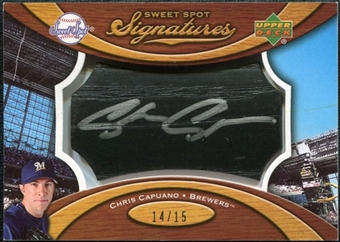 2007 Upper Deck Sweet Spot Signatures Black Bat Barrel Silver Ink #CC Chris Capuano Autograph /15