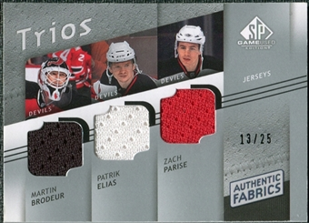 2008/09 Upper Deck SP Game Used Authentic Fabrics Trios #BEP Martin Brodeur Patrik Elias Zach Parise 13/25