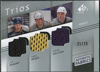 2008/09 Upper Deck SP Game Used Authentic Fabrics Trios #DWS J.P. Dumont Shea Weber Steve Sullivan /25