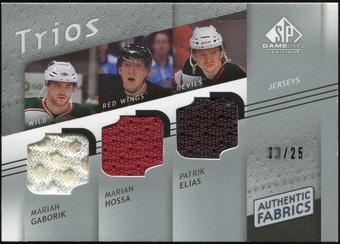 2008/09 Upper Deck SP Game Used Authentic Fabrics Trios #HEG Marian Gaborik Marian Hossa Patrik Elias /25