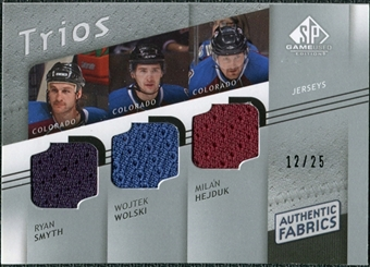 2008/09 Upper Deck SP Game Used Authentic Fabrics Trios #HSW Ryan Smyth Wojtek Wolski Milan Hejduk /25