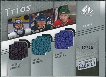 2008/09 Upper Deck SP Game Used Authentic Fabrics Trios #LBD Roberto Luongo Steve Bernier Pavol Demitra /25
