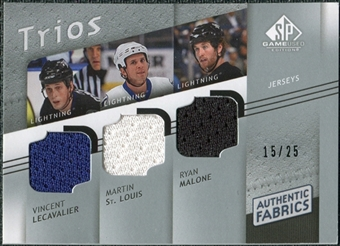 2008/09 Upper Deck SP Game Used Authentic Fabrics Trios #LSM Lecavalier St. Louis Malone /25