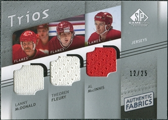2008/09 Upper Deck SP Game Used Authentic Fabrics Trios #MFM Lanny McDonald Theoren Fleury Al MacInnis /25