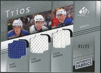 2008/09 Upper Deck SP Game Used Authentic Fabrics Trios #MGP Marc Staal Sam Gagner David Perron /25