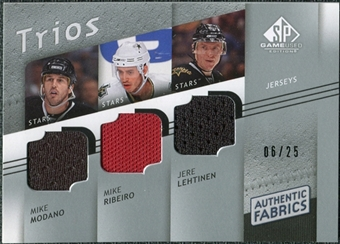 2008/09 Upper Deck SP Game Used Authentic Fabrics Trios #MRL Mike Modano Mike Ribeiro Jere Lehtinen /25