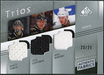 2008/09 Upper Deck SP Game Used Authentic Fabrics Trios #RTL Marty Turco Jere Lehtinen Mike Ribeiro /25