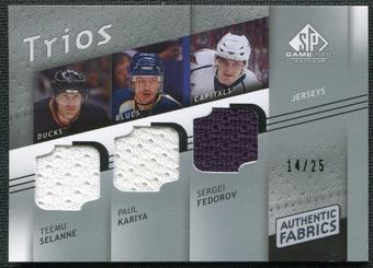 2008/09 Upper Deck SP Game Used Authentic Fabrics Trios #SKF Teemu Selanne Paul Kariya Sergei Fedorov 14/25