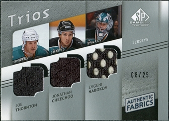2008/09 Upper Deck SP Game Used Authentic Fabrics Trios #TNC Joe Thornton Jonathan Cheechoo Evgeni Nabokov /25